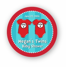 "Twin 1 & Twin 2 Onesies Twins Baby Shower 2.25"" Stickers"