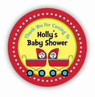 "Thing 1 & Thing 2 Prams Twins Baby Shower 2.25"" Stickers"