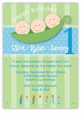 Three Peas in a Pod Boy Triplets Birthday Invitation