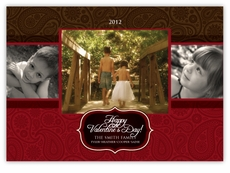 Triple Elegance Multi Photo Valentine�s Day Card