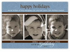 Triple Elegance Paisley Blue Photo Holiday Card