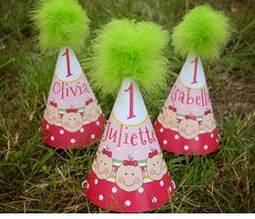 Triplet Baby Girls Personalized Party Hats