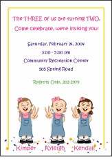 Triplets Cartoon Kids-2 GGG Birthday Invitation
