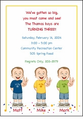Triplets Cartoon Kids-3 BBB Birthday Invitation