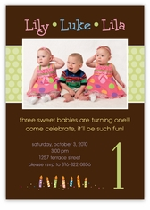 Triplets Chocolate Photo B&G Birthday Invitation