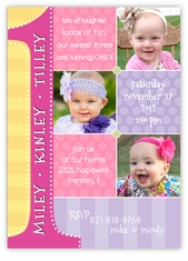Triplets First Birthday Photo Collage GGG Birthday Invitation