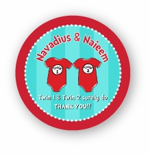 "Twin 1 & Twin 2 Onesies Twins Names Baby Shower 2.25"" Stickers"
