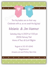 Twin Babies Onesies Baby Shower Invitation