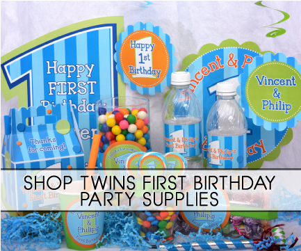 twins 1st birthday party supplies twins first birthday collage ...