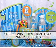 Twins 1st Birthday Party Supplies