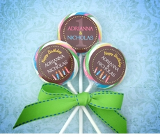 Twins First Birthday Collage<br>Personalized Lollipop Favors
