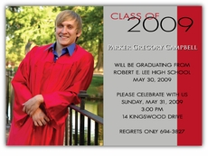 Vertical Stripe Photo Graduation Invitation