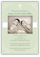 Vintage Swirl Girl Boy Twin Baptism Invitation