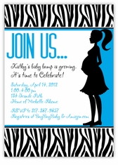 Zebra Animal Print Mod Momma Blue Baby Shower Invitation