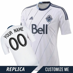 Vancouver Whitecaps FC adidas Replica Custom Player Short Sleeve Primary Jersey - White/Deep Sea<br><b><i>Choose a player or Customize your jersey!</i></b> - Click to enlarge