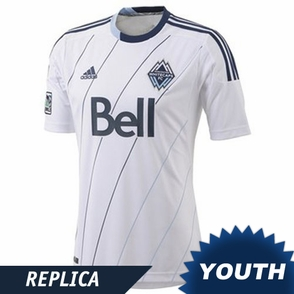 Vancouver Whitecaps FC adidas Youth Replica Short Sleeve Primary Jersey - White/Deep Sea <br><b><i>Choose a player or Customize your jersey!</i></b> - Click to enlarge