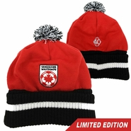 Vancouver Whitecaps FC 40th Anniversary Cuffed Pom Knit Hat - Red/Black<br><b><i>Will ship by May 5th</i></b>