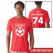 Vancouver Whitecaps FC 40th Anniversary Men's '74 Back Number Tee - Red<br><b><i>Will ship by May 5th</i></b>
