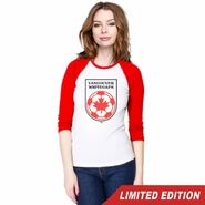 Vancouver Whitecaps FC 40th Anniversary Women's 3/4 Sleeve Raglan Tee - Red/White<br><b><i>Will ship by May 5th</i></b>