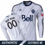 Vancouver Whitecaps FC adidas Authentic Custom Player Long Sleeve Primary Jersey - White/Deep Sea<br><b><i>Choose a player or Customize your jersey!</i></b>