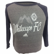 Vancouver Whitecaps FC adidas Women's Distressed 3/4 Tri-Blend Tee - Grey/Navy