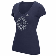Vancouver Whitecaps FC adidas Women's Liquid Silver Triblend V-Neck - Navy