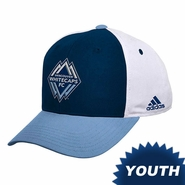 Vancouver Whitecaps FC adidas Youth Color Block Adjustable Hat - Navy/Blue/White