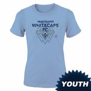 Vancouver Whitecaps FC adidas Youth Girls Goal Post Tee - Light Blue