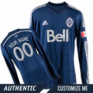 Vancouver Whitecaps FC adidas 2014 Authentic Custom Player Long Sleeve Alternate Jersey - Deep Sea/Silver<br><b><i>Choose a player or Customize your jersey!</i></b>
