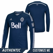 Vancouver Whitecaps FC adidas 2015 Authentic Custom Player Long Sleeve Secondary Jersey - Navy <br><b><i>Choose a player or Customize your jersey!</i></b>