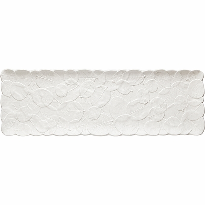 The white Botanical Leaf 19-inch melamine serving platter features a simple stamped leaf design.
