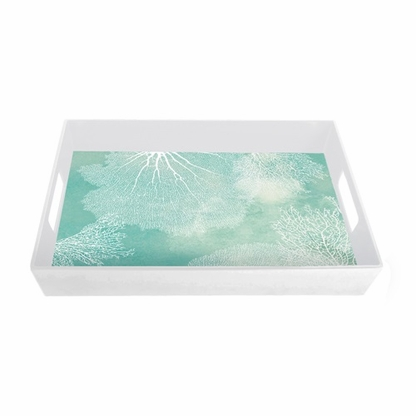The seafoam green and white Ocean 18-inch melamine serving tray with handles features a bold coral design.