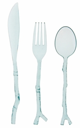 Translucent Teal Twig Cutlery