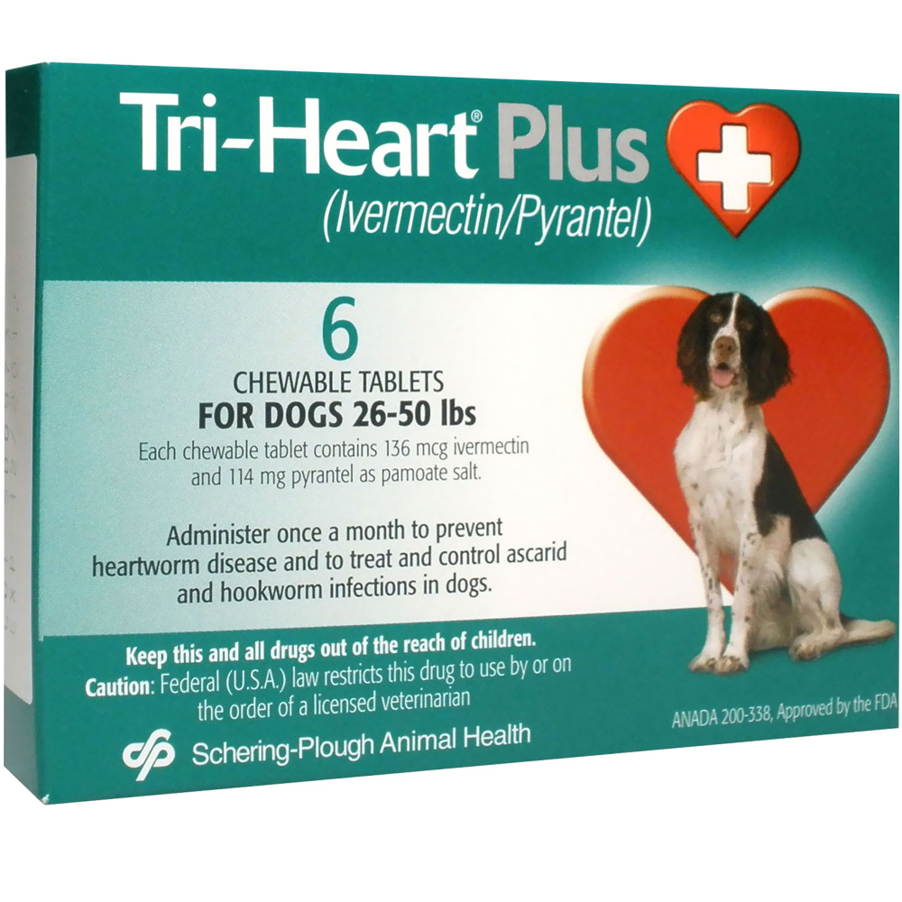 Tri-Heart Plus for Dogs 26 - 50 Lbs (6 Mnth)