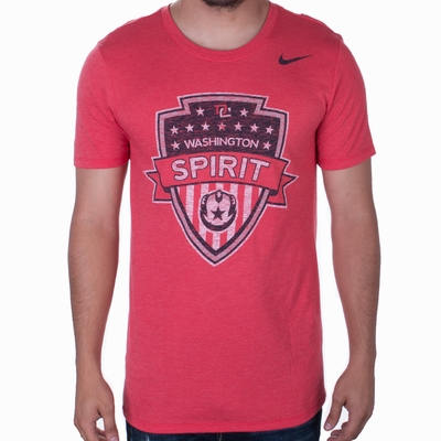 Men's Nike Washington Spirit Distressed Crest Tee - Red - Click to enlarge
