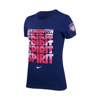 Women's Washington Spirit Chevron Crew Cotton Tee - Navy
