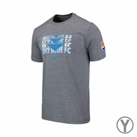 Youth Sky Blue FC Chevron Crew Cotton Tee - Gray
