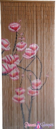 Bamboo Painted Beaded Curtain - Pink Flowers on Natural