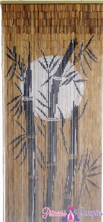 Bamboo Tree & Moon Painted Beaded Curtain