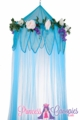 "Canopy ""Fairytale"" Blue With Flower Garland Mosquito Net"