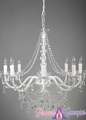 "Chandelier ""Ellena"" White & Crystal 8 Light  - 29"" x 21"""