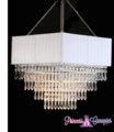 "Chandelier ""Gracie"" Fabric Square & Cascading Crystals"