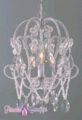 "Chandelier ""Justine"" 1 Light Beaded Crystal Hanging Lamp- Silver and Crystal"
