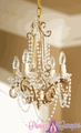 "Chandelier ""Penelope"" Gold Iron w/ Acrylic Beads"