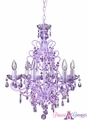 "Chandelier ""Sweet Pea"" Purple Decadent Hanging Chandelier 21"" x 21"" x 25"" - 6 Bulbs"