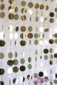 """Kate"" - Light Gold Metallic Circles & Crystal Acrylic Beads Curtain 6' Long"