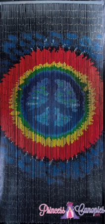 Tie Dye Peace Sign Bamboo Painted Curtain 90 Strands