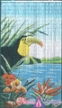 Tucan in Tropical Paradise Bamboo Painted Beaded Curtain