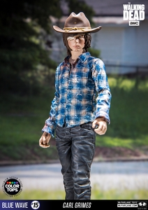 "Carl Grimes (The Walking Dead TV) 7"" Figure McFarlane Collector Edition Color Tops Series - Blue"
