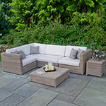 Create a stylish seating area with our modular sectionals in wicker, teak and aluminum finishes.